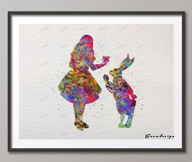 Alice In Wonderland Wall Art aliexpress : buy original watercolor alice in wonderland wall