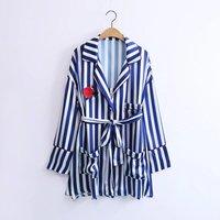 WISHBOP NEW 2017 Fashion Pajamas Style Blue Striped Shirt Lapel Collar Drop Shoulder Front Pockets Rose