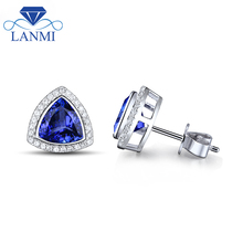 New Trillion 7x7mm Solid 14kt White Gold Tanzanite Earrings Fine Jewelry for Mother Thanksgiving Gift WE14