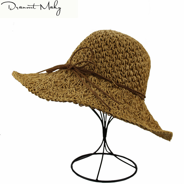 dd8f4b8aa77 Wholesale and Retail Fashion Women Wide Large Brim Floppy Summer Beach  SunHats Straw Cap with big bow Free Shipping New Stly