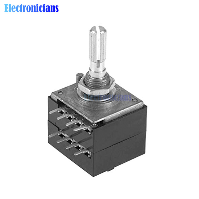 Diymore Rotary Potentiometer ALPS RH2702 A100K 100K 50K Dual 8 Feet Potentiometer Stereo Speaker Amplifier Volume Potentiometer