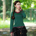 New Casual 2016 Women T Shirts Long Sleeve Round Neck Retro Green Designer Women's Clothing Chinese Apparel
