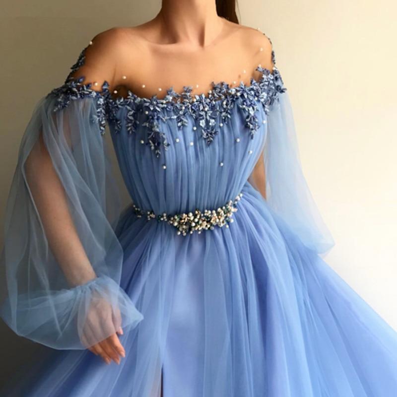 Blue Evening Dresses 2019 A-line Long Sleeves Tulle High Split Pearls Islamic Dubai Saudi Arabic Long Formal Evening Gown Prom