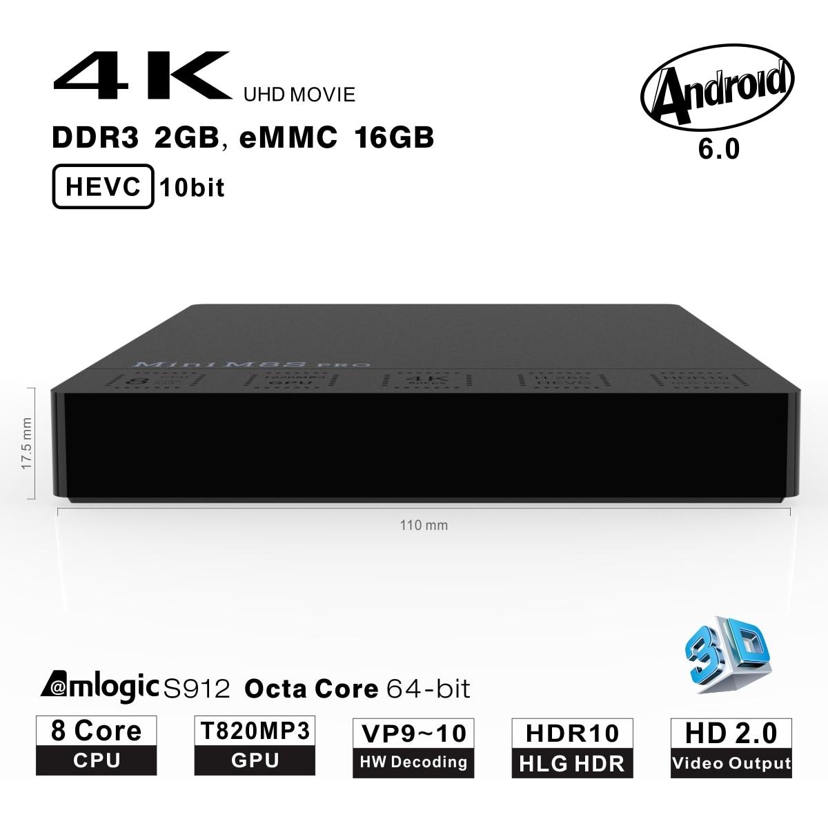 JRGK Mini M8S PRO android tv box Set-top Boxes Amlogic Core 64Bit Android Smart TV Box DDR3 2GB 16GB BT Wifi Media Player new t95n mini m8s pro android 6 0 tv box s905x quad core bluetooth wifi 16 0 2g 8g memory smart set top box emmc ddr3