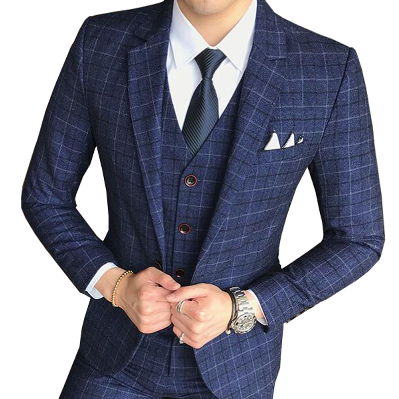( 1 Piece Jacket )2019 New Men's Fashion Boutique Lattice Business Casual Blazer Groom Wedding Dress Formal Blazer Men Coat
