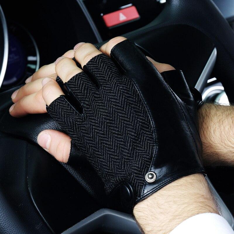 Echtes Leder Halbfinger Männer Handschuhe Half Finger Schaffell Mode Trend Patchwork Fahren Lederhandschuhe 2018 NEUE TB03