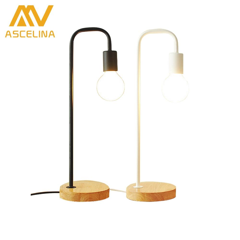 ASCELINA Nordique Moderne lampes de Bureau Creative Simple Table Lampe Bedlamp Fer led lumière pour salon Chambre bois base 110 V/220 V