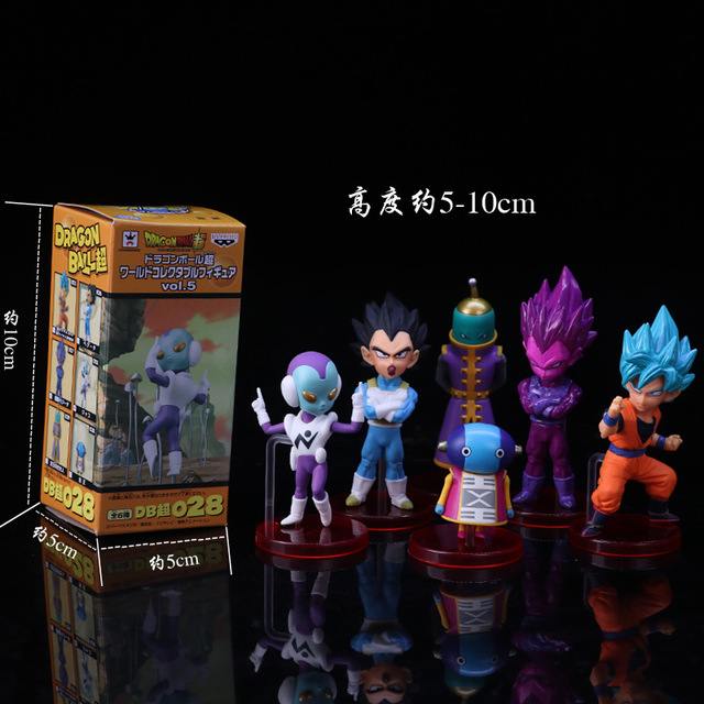 Novo 6 pçs/set 8 ~ 9 cm Dragon Ball Super vol.7 Goku Troncos Zamasu Super Saiyan Vegetto Rosa Preto Grande padre PVC Figuras Brinquedos