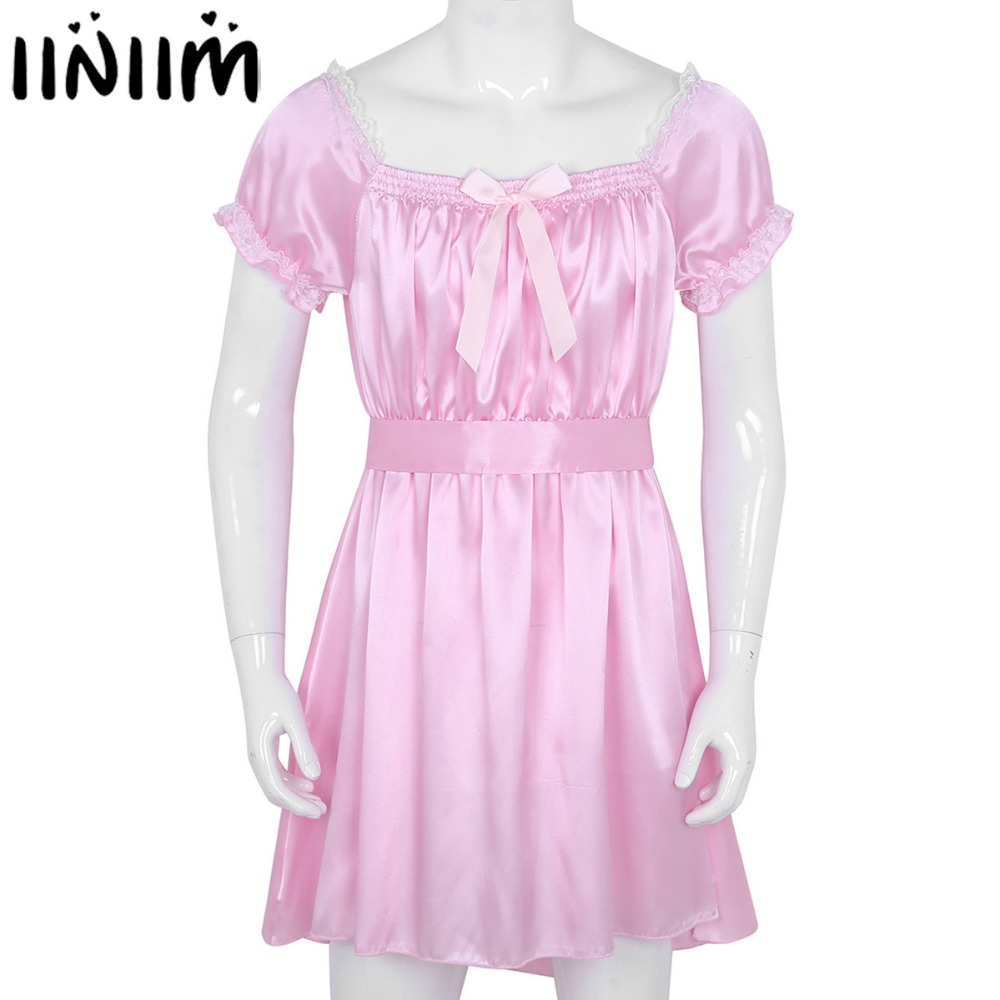 <font><b>Mens</b></font> <font><b>Sexy</b></font> <font><b>Lingerie</b></font> Nighwear Babydoll Shiny Soft Satin Crossdress Male with Sash Sissy Underwear <font><b>Sexy</b></font> Erotic Male Underpants image