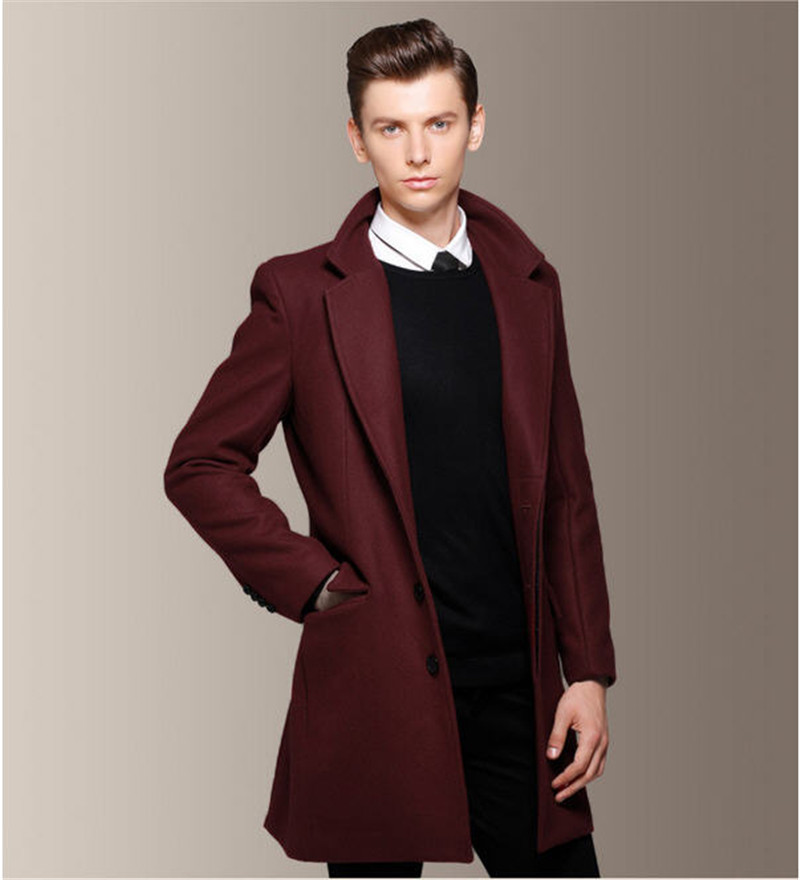 Man Overcoat Trench Coat Red Blends Wine Long Men Winter Dress ...