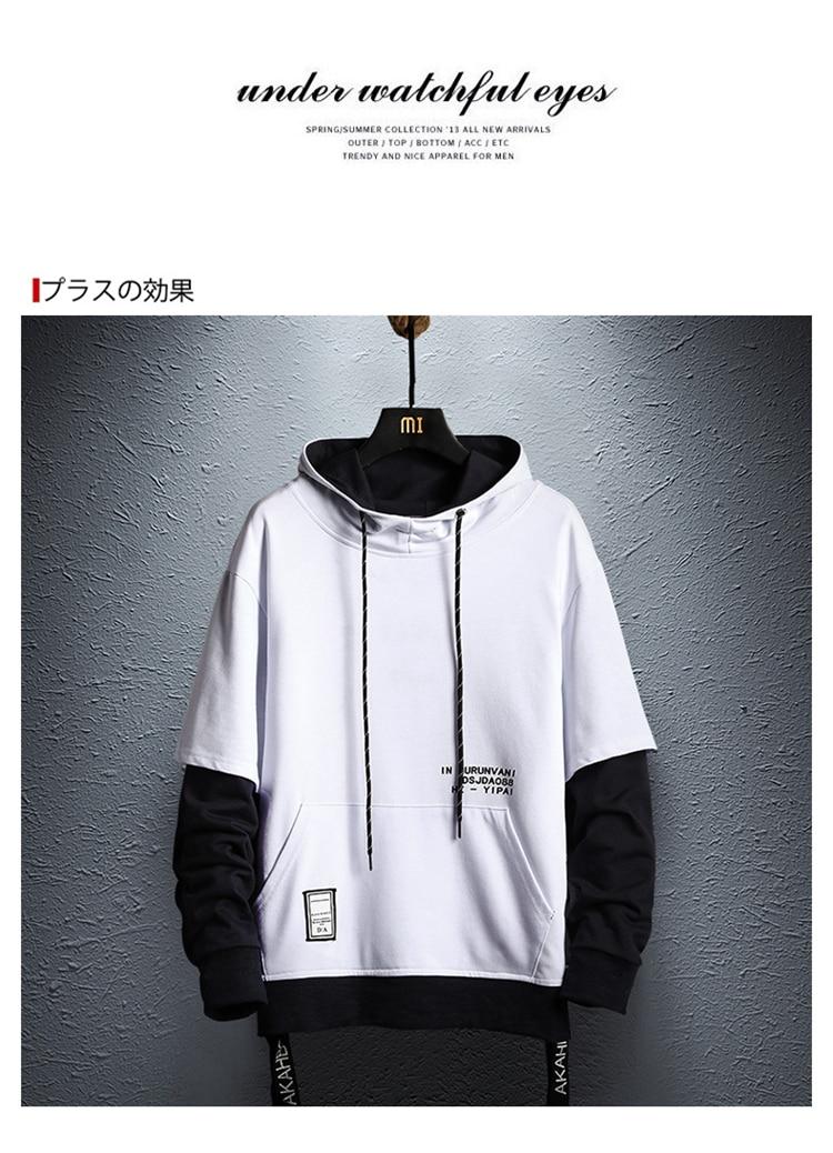 Hoodie Sweatshirt Mens Hip Hop Pullover Hoodies Streetwear Casual Fashion Clothes colorblock hoodie 19