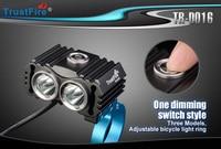 2017 trustfire TR-D016 2 xcree XM-L2 800 lumens 3-mode led bicicleta luz + 4.2 v 5200 mah bateria + carregador