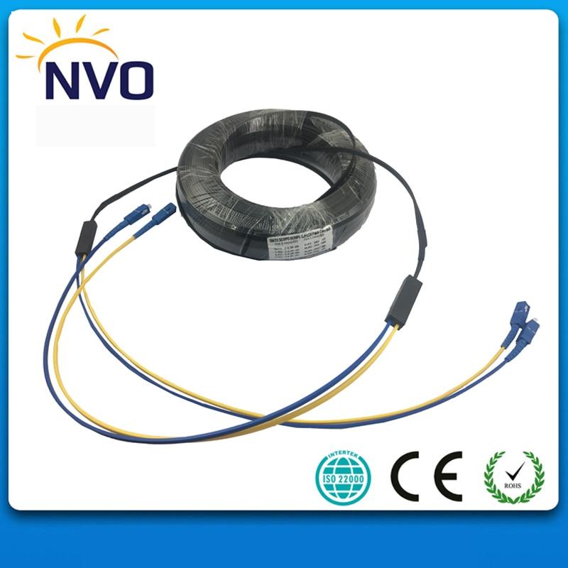 50M FTTH GJYXCH Fiber Optic Drop Cable Patch Cord SC/UPC to SC/UPC Duplex Singlemode G657A1 Black Jacket Fiber Optic Jumper