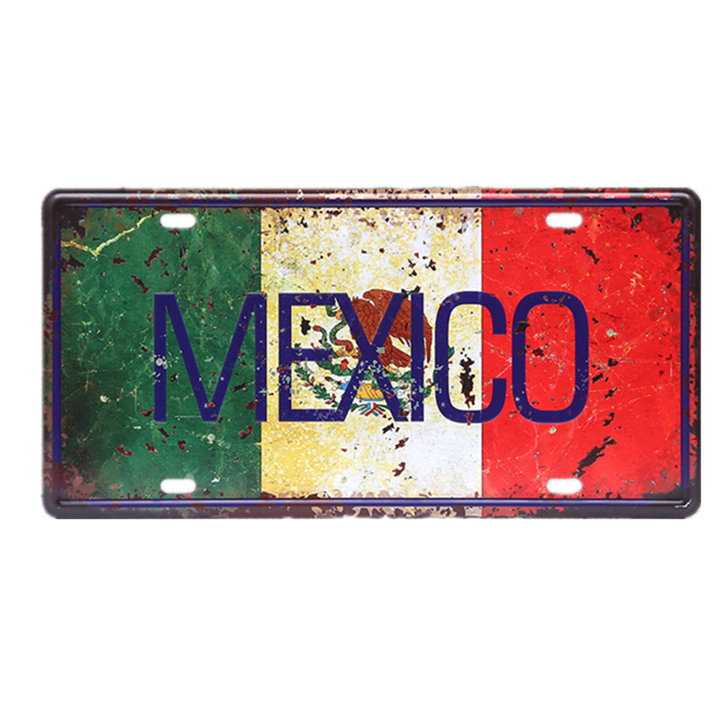 Mehika Italija Francija Avtomobilska kovinska plošča Vintage - Dekor za dom - Fotografija 2