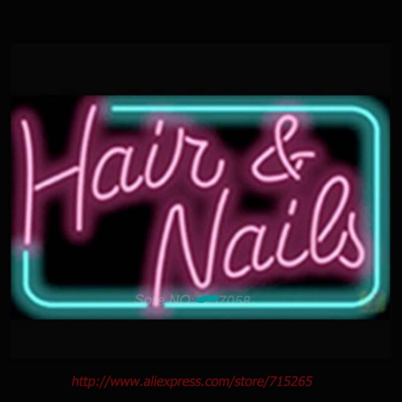 New Hair And Nails Neon Bulbs Signs For Bar Real Glass Handcrafted Professional Pub Light Art 17x14 In Tubes From