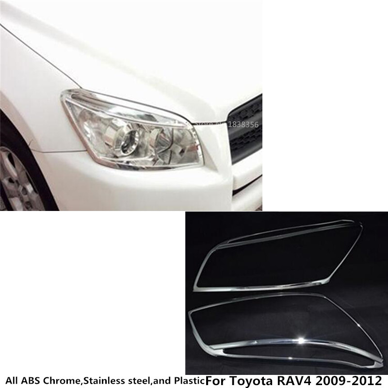 For Toyota RAV4 2009 2010 2011 2012 Car styling body Front Head light Lamp Detector Frame Stick ABS Shade Cover trim Part 2Pcs