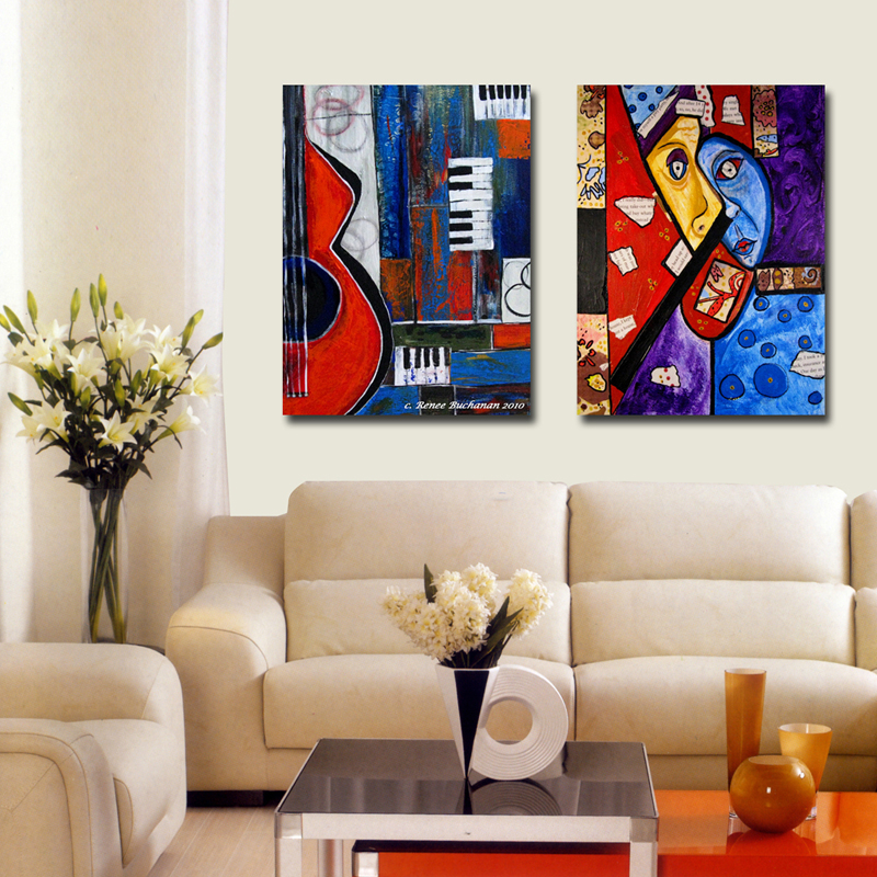 2 Piece abstract cartoon Wall Art Canvas Painting Wall Pictures For Living Room Cuadros Decoration Picture 2016 No Frame printed image