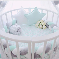 Baby Knot Bed Bumper Weaving Plush Crib Cradle Protector Guard Toddler Pillow Cushion Photo Props Bed Sleep Bumper