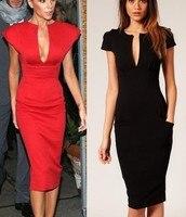 Women Black Deep V OL Office Dress 60s Party Dresses Vestido Festa Victoria Beckhams Style Sexy