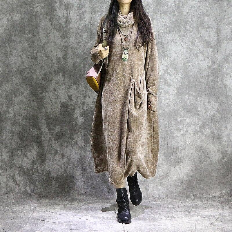 Kobiety wiosna jednolity kolor luźna sukienka Retro Plus rozmiar najniższy sukienka kobieta w stylu Vintage Patchwork sukienka w Suknie od Odzież damska na  Grupa 1