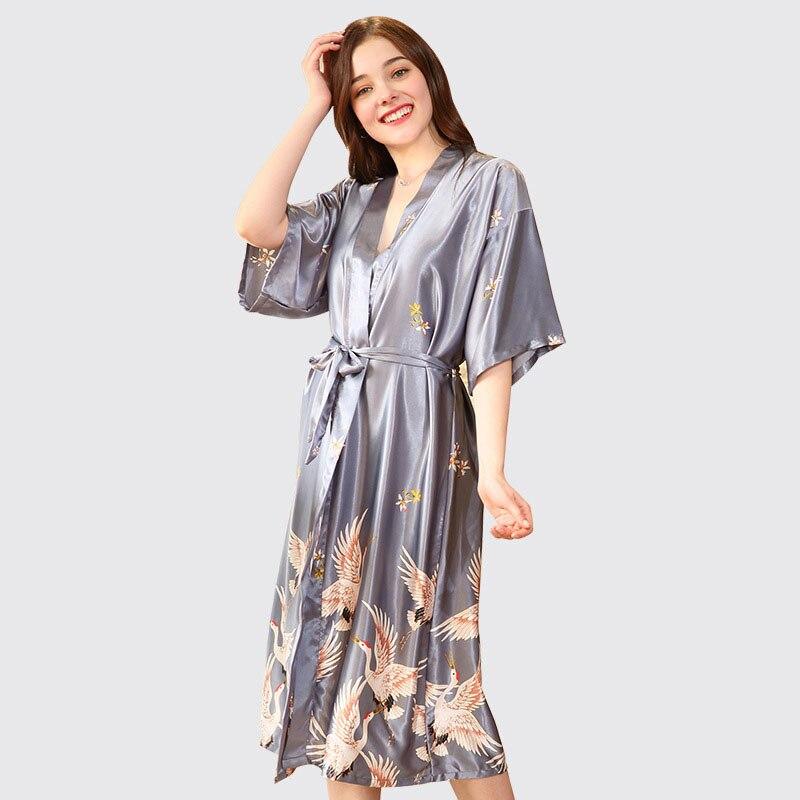YINSILAIBEI Female Bridesmaid Robes Silk Satin Bridal Wedding Robe for Women,Japanese Kimono Bathrobe Dressing Gown Plus Size#20 silk