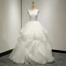 Cheap Real Pictures Scoop Neck Beading Lace Ruffle Organza Long Wedding Dress Bridal Gown