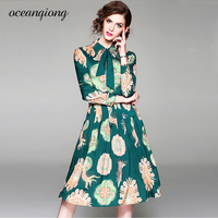 2018 Spring Summer Dress Women New Long Sleeve Turn Down Collar Bow Flower Printed Pleated Lapel