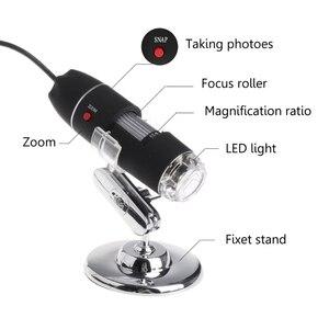 Image 5 - 8LED 1600x USB مجهر رقمي عدسة إلكترونية ضوء المكبر البيولوجي المنظار كاميرا فيديو حامل