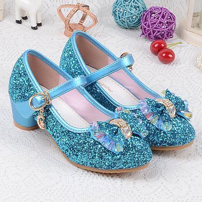 Meninas Sapatos De Casamento Enfants 2016 Lantejoulas Princesa Dos Miúdos das Crianças do Bebê Sapatos de Salto alto Vestido de Festa Para Meninas Rosa Azul Ouro 540
