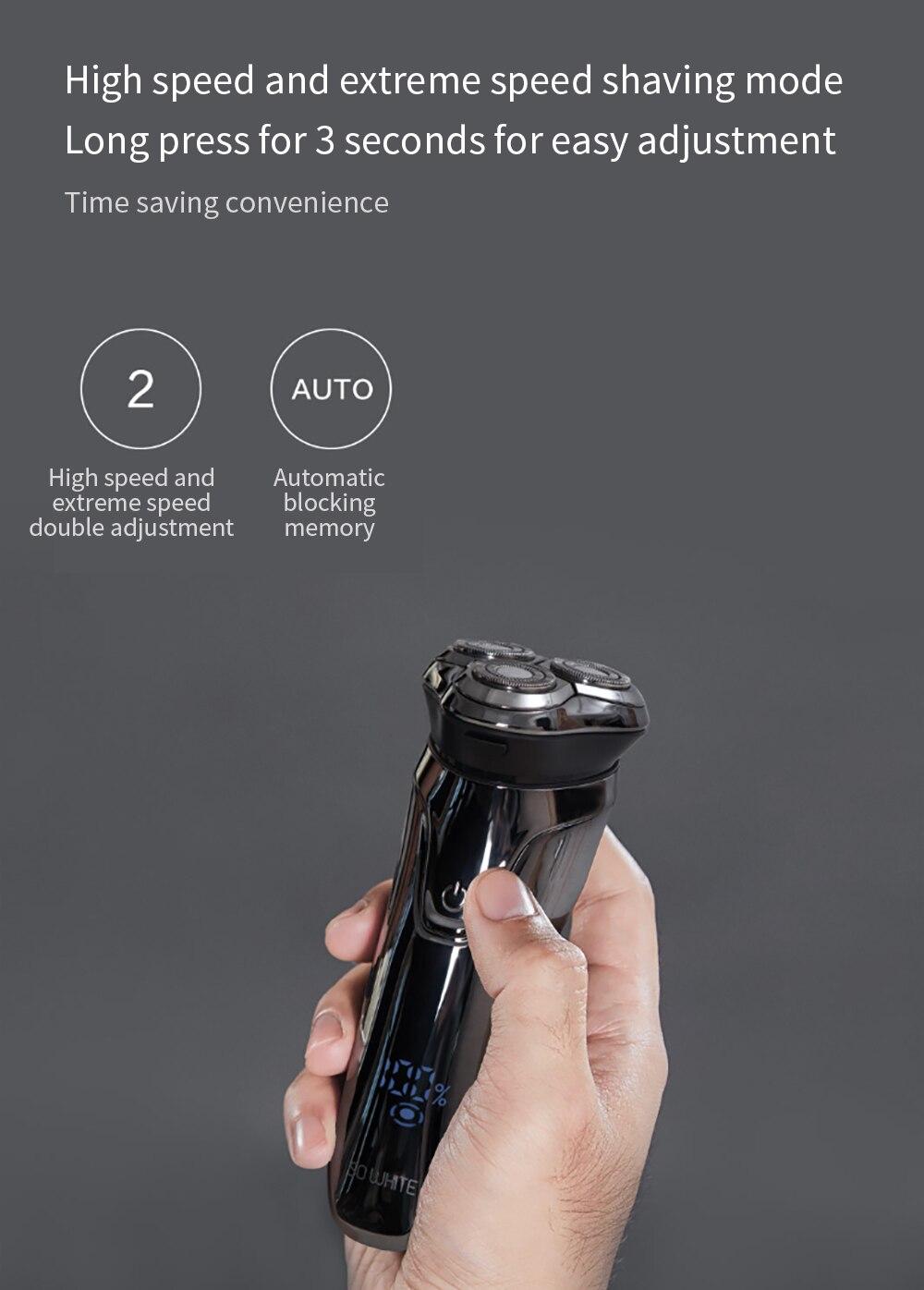 SOOCAS SO WHITE ES3 USB Rechargeable Electric Shaver xiaomi razor 3 head Electric Razor for men beard trimmer shaving machine 6