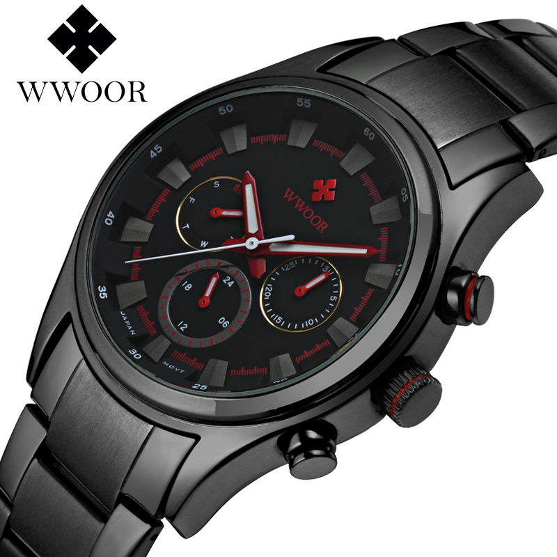 Top Brand WWOOR Fashion Mens Watches Stainless Steel Strap Quartz Men Dress Wrist Watch Casual Gift