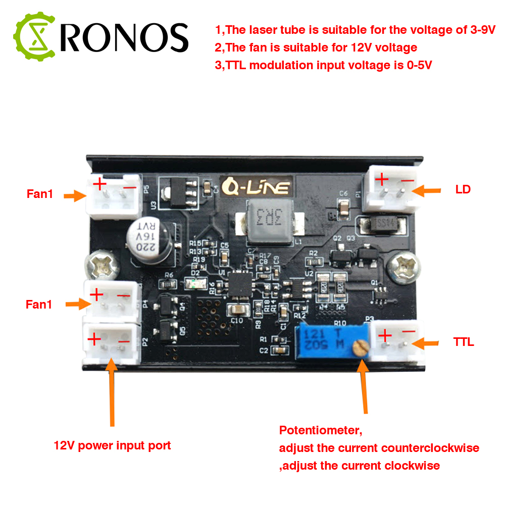 5A 1W-5.5W 405nm/<font><b>450nm</b></font> Blue <font><b>Laser</b></font> <font><b>Diode</b></font> LD Driver Board 12V Step-down Constant Current Drive Circuit Of TTL Modulation 150KHZ image