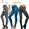 Hot Sale Genie Slim Jeggings 3pcs/lot Women's leggings Jeans Leggins Print Women Fashion Thick Pants with True Pocket Pluz Size