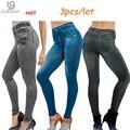 Venda quente Genie Slim leggings Jeans Jeggings 3 pçs/lote das Mulheres Leggins Impressão Mulheres Moda Calças Grossas com Bolso Verdadeiro Tamanho Pluz
