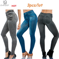 Venta caliente Genie Delgado Jeggings 3 unids/lote leggings Pantalones Leggins de Impresión Mujeres de La Manera de Las Mujeres Pantalones Gruesos con Verdadera Bolsillo Pluz Tamaño