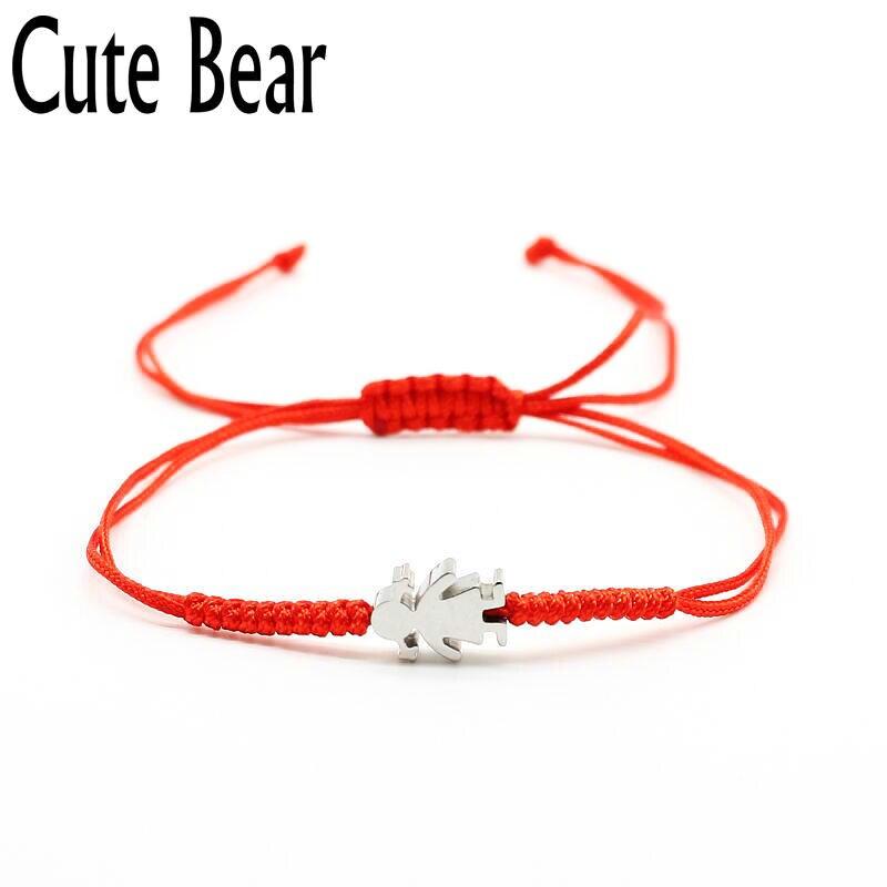 Милый медведь бренд Для женщин браслет модные Нержавеющаясталь покрытие вакуум маленьких для девочек и мальчиков Ручной красная линия бр...