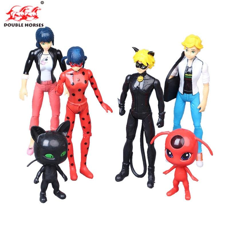 6 Stks/set Ladybug girl GK model doll magic hair ornaments Ladybug girl Leidi super cat children Figure Doll girl birthday gift