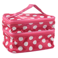 5x Lovely Rose Red Unique Dots Pattern Double Layer Travel Makeup Cosmetic Bag Case