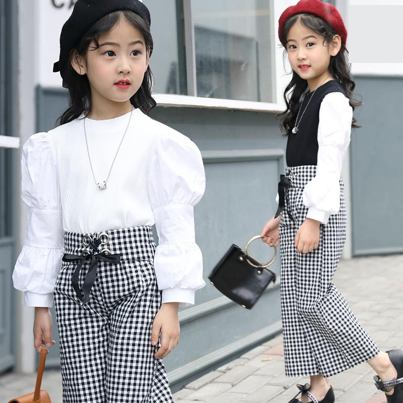 Girls Clothes Spring 2018 Girls Clothing Sets Kids Clothes Girls Trousers Clothing Sets Kids Suit Blouses & Shirts + Plaid Pants 30 new styles festival gifts top trousers lifestyle suit casual clothes trousers for barbie doll 1 6 bbi00636
