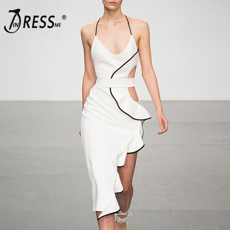 INDRESSME Bandage Dress Sexy Solid Halter Strapless Sleeveless Ruffles Hollow Out Split Asymmetrica Party Vestidos dress