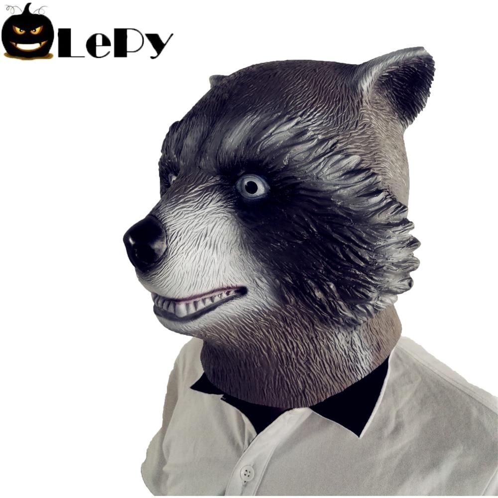 Neuheit Halloween Kostüm Party Latex Tier Kopf Maske Waschbären ...