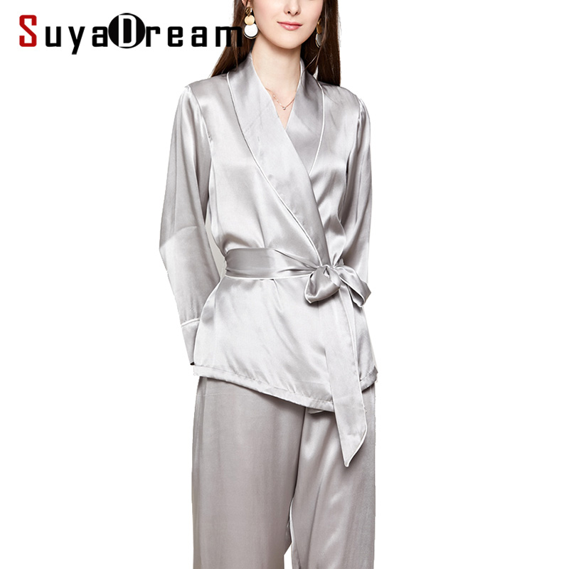 Women Silk   Pajama     Sets   100%REAL SILK SATIN Robes and Pants 2019 New Spring Sleepwear Silver