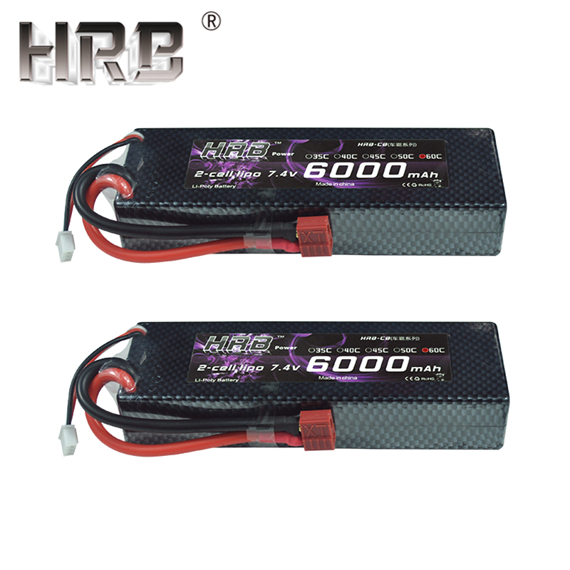 2pcs HRB 2S 7.4V 6000mah 60C Lipo Battery RC Parts Hard Case T XT60 Deans EC5 XT90 For Traxxas TRX4 Buggy Cars FPV Airplane Boat