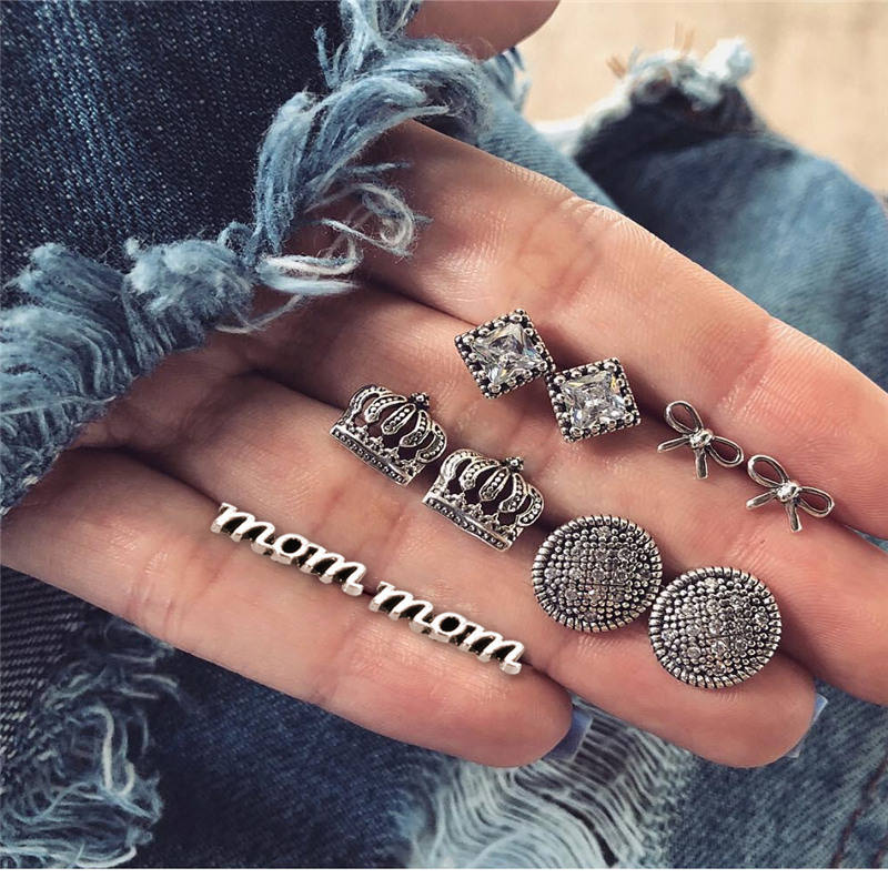 2019 New Vintage Earrings Crown Round Decoration Silver Bow Fashion Letter Pendant with Earrings Women 39 s Party Gifts Hot in Stud Earrings from Jewelry amp Accessories