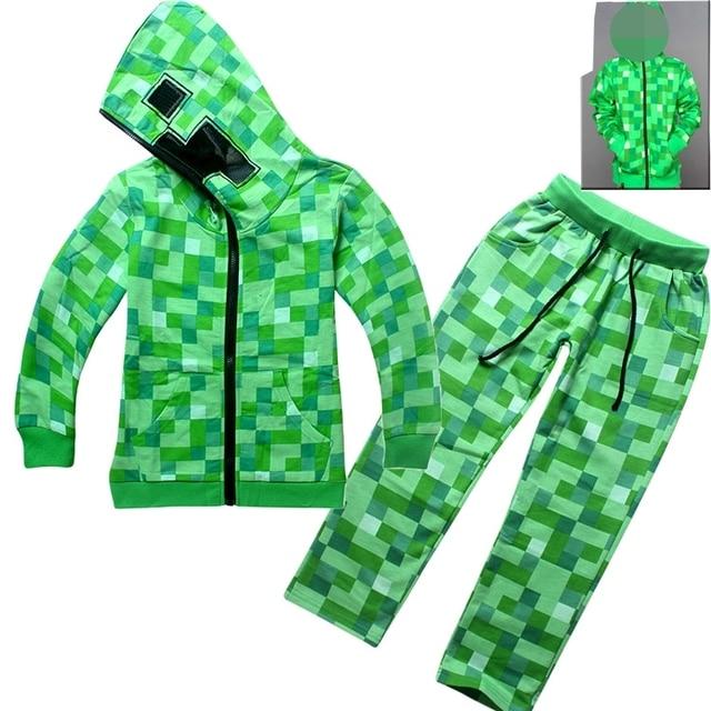Noir Vêtements Pour Enfants 2 pcs Tenues Vêtements Set Manteau + pantalon  Minecraft Garçons Vêtements de 84cd3e5ca1d