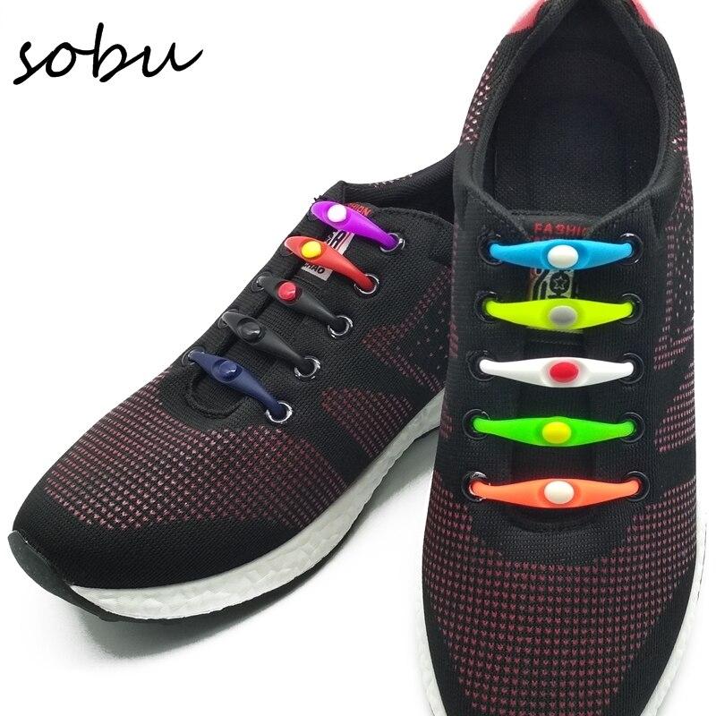 купить 3Size/Set Fashion Black Round Creative No Tie Shoelaces Unisex Elastic Silicone Shoe Laces Men Women All Sneakers Fit Strap V037 по цене 91.8 рублей