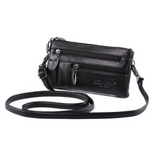 Katloo Women's Genuine Leather Multi-pocket Small Cross-body Purse Shoulder Bag Wristlet Handbag Wallet Clutch with Double Strap