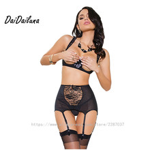 Fashio Sexy Lingerie Women Black Lace Bow Open Bra with Print Garter Belt Mesh Sexy Underwear Bra+Garter+underwear+stockings