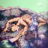 Акрил ручная роспись китайский художник Ян Цзэминь работы Ночь и рыба 150X150 см настенные картины искусство абстрактный ГУ бревно кабина