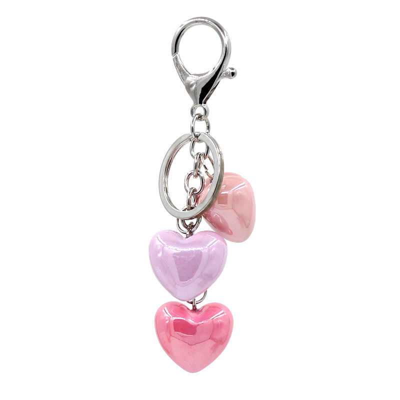 VONNOR Jewelry Keychain Acrylic Heart Pendant Mixed color Key Chain Car Women Handbag Accessories keychains Dropshipping